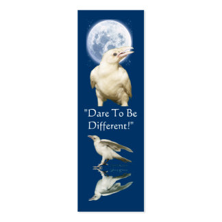 White Raven ~ Bookmark & Profile Card Double-Sided Mini Business Cards (Pack Of 20)