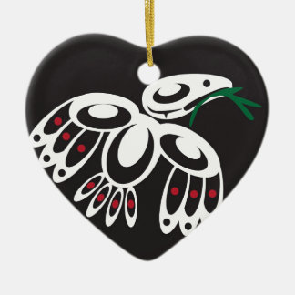 White Raven Ceramic Ornament