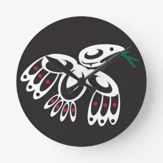 White Raven Round Clocks