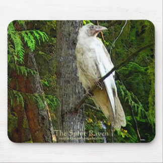 WHITE RAVEN & FOREST MOUSE PAD