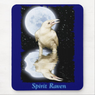 White Raven & Full Moon Reflected Mousemat Mouse Pad