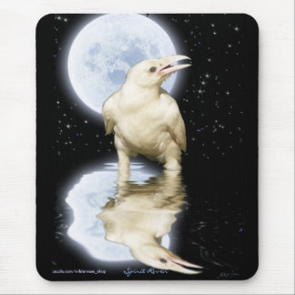 White Raven & Full Moon Reflected Mousepad