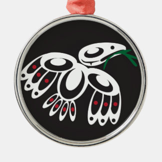 White Raven Metal Ornament