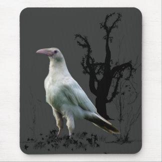 White Raven, Wild Bird, Fantasy, Goth Mousepads