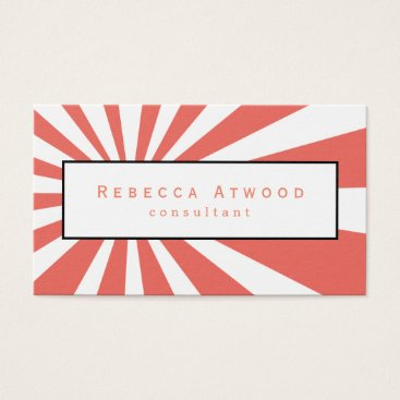 Professional Business White Rays Pattern Business Cards Coral
