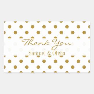 White Rectangle Custom Gold Polka Dotted Thank You Rectangular Sticker