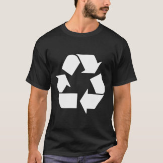WHITE RECYCLE SYMBOL ON BLACK T-Shirt