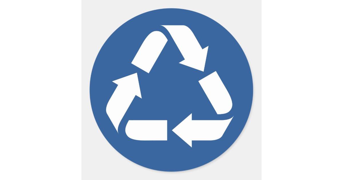 White recycle symbol on dark blue background classic round ...