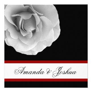 WHITE RED and BLACK Rose Flower Wedding Invitation