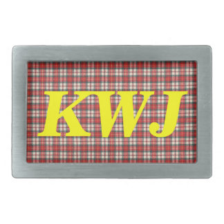 White Red and Black  Tartan Plaid Textile Design Belt Buckle
