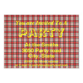 White Red and Black  Tartan Plaid Textile Design Card