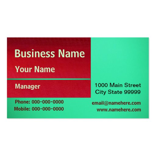 White Red And Green Double-Sided Standard Business Cards (Pack Of 100)