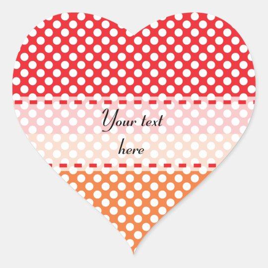 White, Red and Orange Polka Dot Heart Sticker