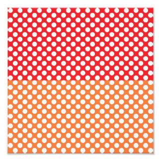 White, Red and Orange Polka Dot Photo Print