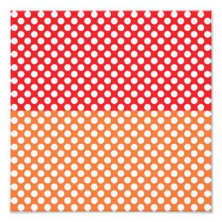 White, Red and Orange Polka Dot Photo Print