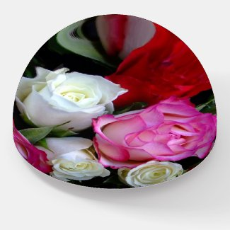 White Red and Pink Roses Bouquet Paperweight