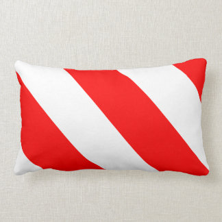 White Red Attention Warning Stripes Lumbar Pillow