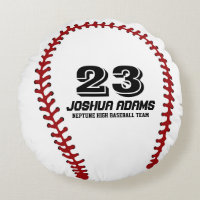 White Red Baseball Games Sports Team Round Pillows