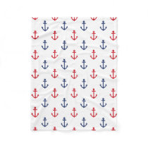 White Red Blue Nautical Anchor Pattern Fleece Blanket