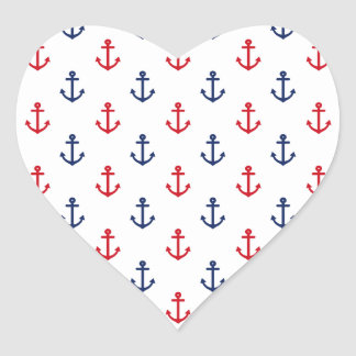 White Red Blue Nautical Anchor Pattern Heart Sticker