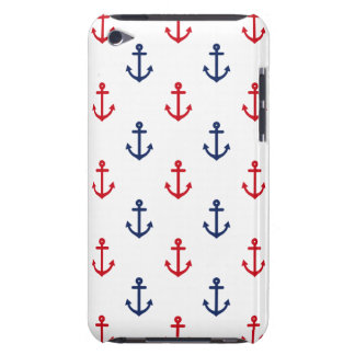 White Red Blue Nautical Anchor Pattern iPod Touch Case