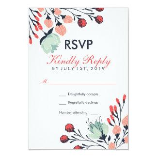 White Red  Blue Vintage Flower Wedding RSVP Card