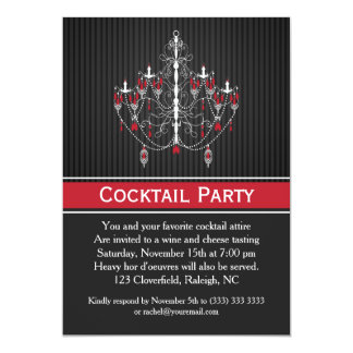 White red chandelier on black Cocktail Party Card