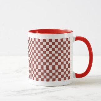 White & Red Checkers Mug