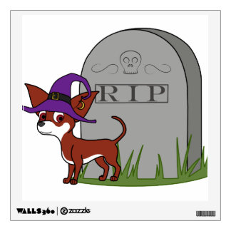 White & Red Chihuahua Witch with RIP Grave Stone Room Graphic