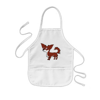 White & Red Chihuahua with Long Hair Kids' Apron
