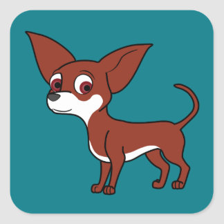 White & Red Chihuahua with Short Hair Square Sticker