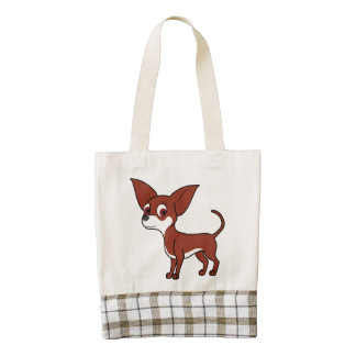 White & Red Chihuahua with Short Hair Zazzle HEART Tote Bag