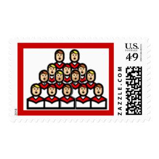 White Red Christmas Choir Boys Singing USPS Stamp