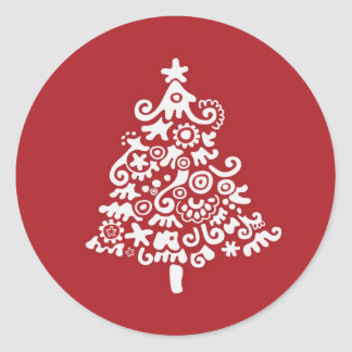 White & Red Christmas Tree Classic Round Sticker