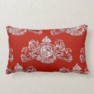 White Red Dieu et Mon Droit British Coat of Arms Lumbar Pillow