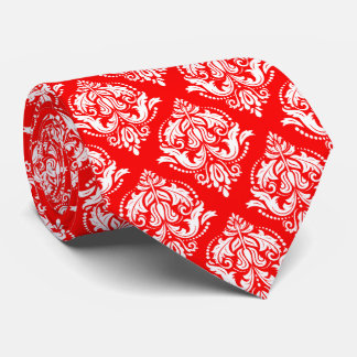 White & Red Floral Damask Geometric Pattern Neck Tie
