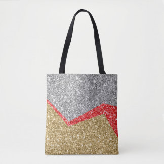 White Red & Gold Glitter Geometric Design Tote Bag