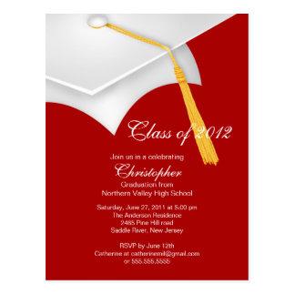 White Red Grad Cap Graduation Party Invitation Postcard