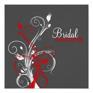 """White, Red, Gray Floral Bridal Shower Invitation 5.25"""" Square Invitation Card"""
