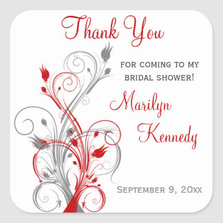 White, Red, Gray Floral Bridal Shower Sticker