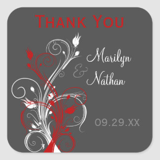 White, Red, Gray Floral Wedding Favor Sticker