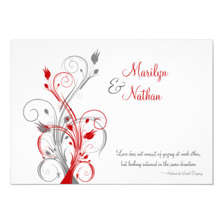 White, Red, Gray Floral Wedding Invitation