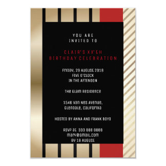 White Red Gray Ombre Geometry Golden Stripes Card