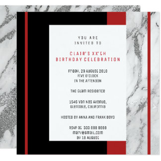 White Red Gray Ombre Geometry Silver Marble Card