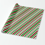 [ Thumbnail: White, Red, Green Christmas-Themed Stripes Pattern Wrapping Paper ]