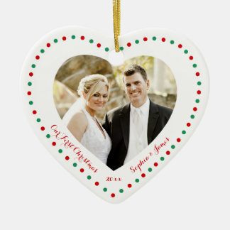 White Red Green Heart Our First Christmas Ornament