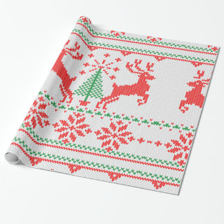 White Red Green Knit Christmas Sweater Style Wrapping Paper