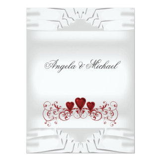 White Red Hearts Big Wedding Invitation Custom Announcements