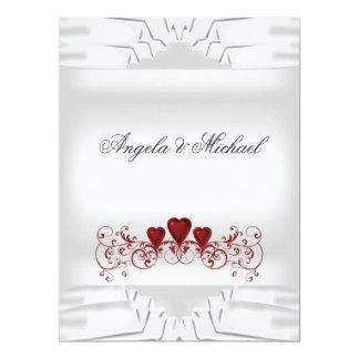 White Red Hearts Big Wedding Invitation