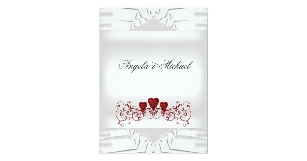 How Big Are Wedding Invitations: White Red Hearts Big Wedding Invitation